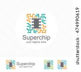 abstract micro chip symbol logo ... | Shutterstock .eps vector #474990619