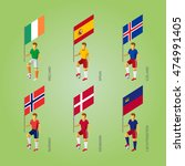 set of football players with... | Shutterstock .eps vector #474991405