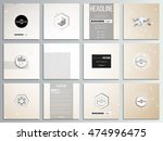 set of 12 creative cards ... | Shutterstock .eps vector #474996475