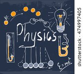 hand drawn set of physics... | Shutterstock .eps vector #474997405