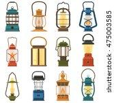 vintage camping lantern set... | Shutterstock .eps vector #475003585