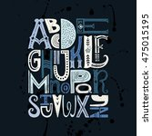 unique vector alphabet drawn by ... | Shutterstock .eps vector #475015195