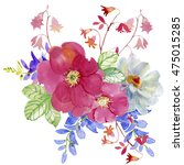 flowers watercolor illustration.... | Shutterstock . vector #475015285