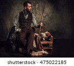 handsome hunter with a english...   Shutterstock . vector #475022185