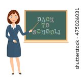 young female teacher pointing... | Shutterstock .eps vector #475026031