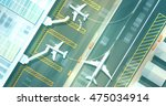 top down view of an airport... | Shutterstock .eps vector #475034914