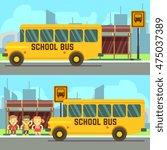 schoolboy and schoolgirl... | Shutterstock .eps vector #475037389