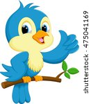 cute blue bird cartoon | Shutterstock . vector #475041169