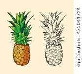 outline pineapple and color... | Shutterstock .eps vector #475041724