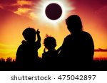 silhouette back view of family... | Shutterstock . vector #475042897
