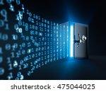 data warping into safe box   3d ... | Shutterstock . vector #475044025