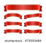 red ribbons set. satin blank...   Shutterstock .eps vector #475053484