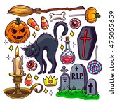 Stock vector set of different attributes of halloween hand drawn illustration 475055659