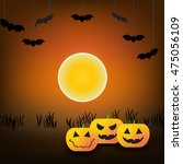 halloween background with... | Shutterstock .eps vector #475056109