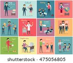 teachers day. set the teaching... | Shutterstock .eps vector #475056805