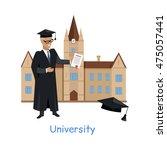 university building isolated on ... | Shutterstock .eps vector #475057441
