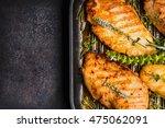 roasted chicken breast in grill ...   Shutterstock . vector #475062091