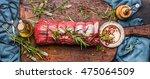 raw roast beef  with herbs tied ... | Shutterstock . vector #475064509
