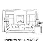 hand drawn room interior sketch.... | Shutterstock .eps vector #475064854