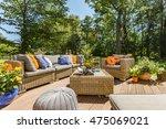 spacious villa patio with... | Shutterstock . vector #475069021