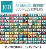Mega collection of 100 business annual report brochure templates, A4 size covers created with geometric modern patterns - squares, lines, triangles, waves | Shutterstock vector #475074241