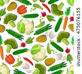 vegetables seamless background. ... | Shutterstock .eps vector #475076155
