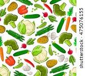 vegetables seamless background. ...   Shutterstock .eps vector #475076155