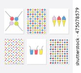 set of 6 cute creative cards... | Shutterstock .eps vector #475078579