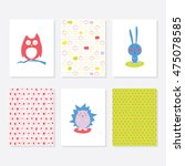 set of 6 cute creative cards... | Shutterstock .eps vector #475078585