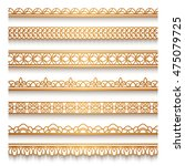 set of vintage gold ornamental... | Shutterstock .eps vector #475079725