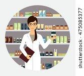 female pharmacist in pharmacy... | Shutterstock .eps vector #475085377