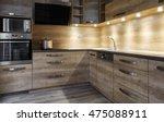 Stock photo brown kitchen unit modern furniture 475088911