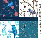 vector set patterns with bird... | Shutterstock .eps vector #475089961