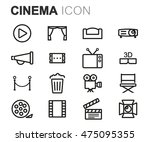 vector black line cinema icons... | Shutterstock .eps vector #475095355