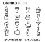 vector black line drinks icons... | Shutterstock .eps vector #475095367