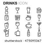 vector black line drinks icons... | Shutterstock .eps vector #475095367