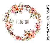 watercolor floral boho flower... | Shutterstock . vector #475099399