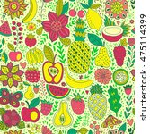 fruit doodles seamless vector... | Shutterstock .eps vector #475114399