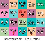 emotions. set of doodle faces.... | Shutterstock .eps vector #475129861