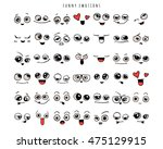 emotions. set of doodle faces.... | Shutterstock .eps vector #475129915