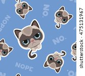 cute sad grumpy cat in material ... | Shutterstock .eps vector #475131967