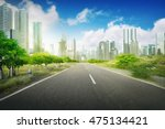 empty road in the city on the... | Shutterstock . vector #475134421