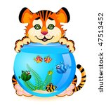little cartoon tiger with... | Shutterstock .eps vector #47513452