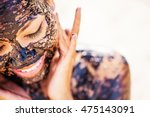 pretty asian girl applying... | Shutterstock . vector #475143091