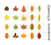 autumn leaves set  isolated on... | Shutterstock .eps vector #475144831