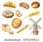 hand painted watercolor bread ... | Shutterstock . vector #475155511