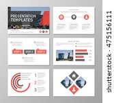 set of red and gray template... | Shutterstock .eps vector #475156111