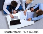business people sitting and... | Shutterstock . vector #475168501