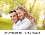 young couple walking  hyde park ... | Shutterstock . vector #475170235