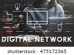 digital network communication... | Shutterstock . vector #475172365
